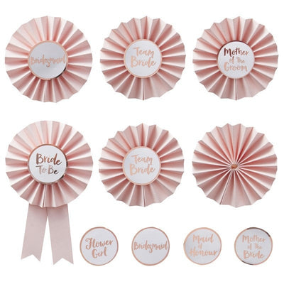 Team Bride hen party badges - Pink and rose gold hen party badges - Team hen badges - Hen party badges - Bride to be badge - Pack of 6