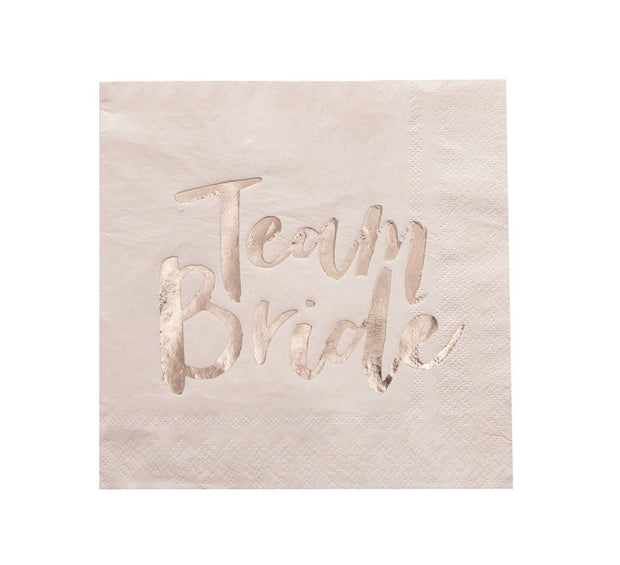 Team Bride rose gold paper napkins - Pink and rose gold hen party napkins - Team hen napkins - Hen party napkins - Bride to be - Pack of 20