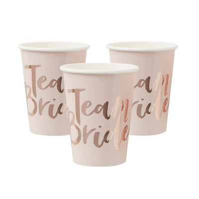 Team Bride rose gold paper cups - Pink and rose gold hen party cups - Team hen cups - Hen party cups - Hen party decor-Bride to be-Pack of 8