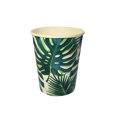 Tropical paper cups - Paper cups - Birthday party cups - Tropical leaf decor - Party decorations - Party tableware - Party supplies - 8 cups