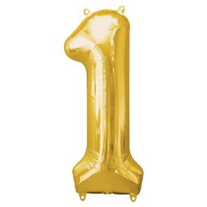 "Gold number 1 balloon - Large gold foil 1 balloon - 1st birthday balloon -Birthday party balloon-Party decorations-Giant balloon-34"" balloon"