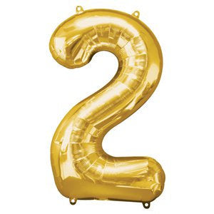 "Gold number 2 balloon - Large gold foil 2 balloon - 2nd birthday balloon -Birthday party balloon-Party decorations-Giant balloon-34"" balloon"