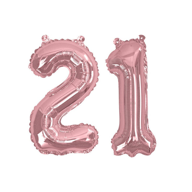 "Rose gold number 21 balloon - 16"" rose gold foil 21 balloon-21st birthday balloon-Birthday balloon-Party decorations-Air fill balloons"