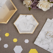 Marble gold plates - Canapé paper plates - Hen party plates-Birthday paper plates-Hexagon plates-Party decorations-Party tableware-8 pack