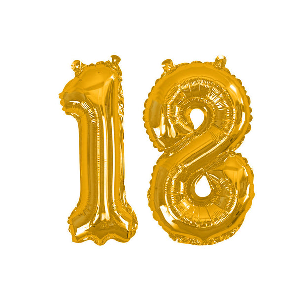 "Gold number 18 balloon - 16"" gold foil 18 balloon - 18th birthday balloon - Birthday balloon - Party decorations - Air fill balloons"
