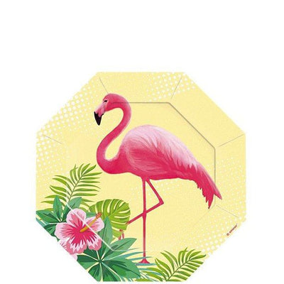 Flamingo paper plates - Flamingo party dessert plates - Tropical party plates-Birthday paper plates-Party decorations-Party tableware-8 pack