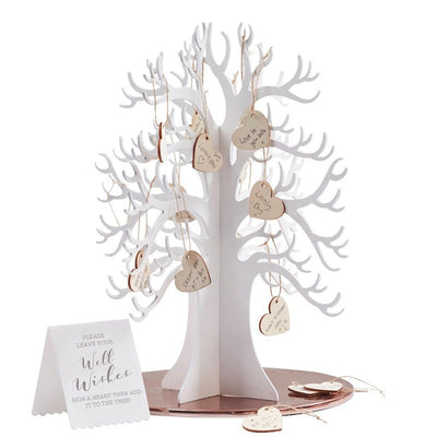 Wooden wishing tree guest book -White wooden wedding guest book alternative Country wedding guest book-Wedding guest book-Beautiful botanics