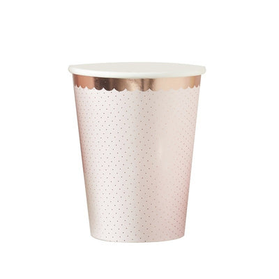 Rose gold and pink cups - Ditsy floral paper cups - Rose gold polka dot party cups - Hen party cups -Birthday cups -Party decorations-8 cups