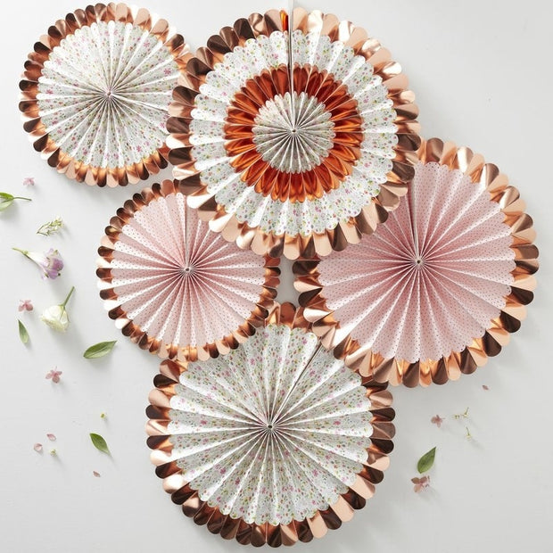 Rose gold ditsy floral fans - Party decorations - Paper fan decorations - Hen party decor -Birthday party decor-Baby shower decor -Pack of 5