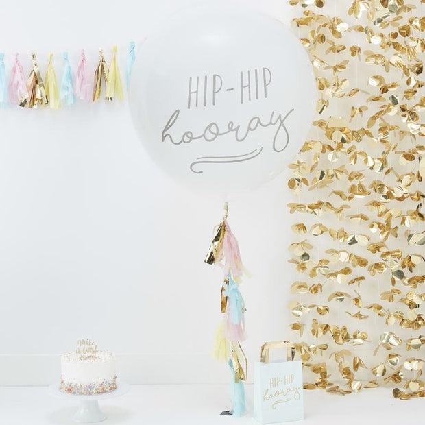 Giant party balloon - Birthday party balloon kit - Balloon with tassels - Hip hip hooray balloon - Party decorations - Large white balloon