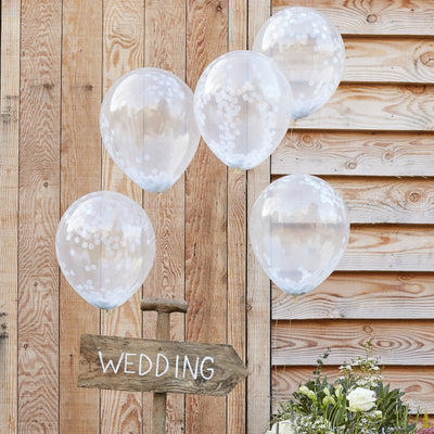 White confetti balloons - White wedding confetti balloons-Christmas balloons-Party decorations-Birthday decorations-Rustic wedding-Pack of 5
