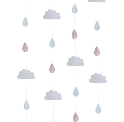 Rose gold raindrop backdrop - Baby shower decorations - Clouds and raindrops hanging decoration - Baby shower photo props - Hello world