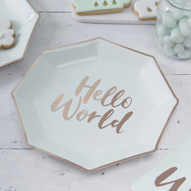 Mint and rose gold paper plates - Baby shower plates - Baby shower tableware - New baby party - Rose gold and mint - Hello world - Pack of 8