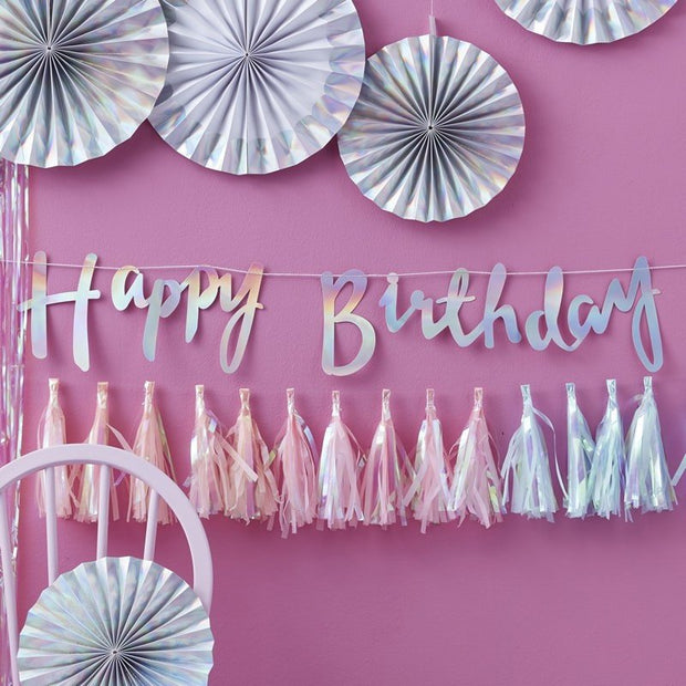 Iridescent Happy Birthday bunting - Happy birthday party banner - Unicorn party banner - Mermaid party decor-Party decorations-Rainbow party