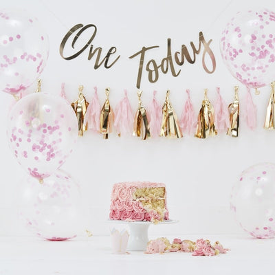 Pink cake smash kit - Baby girl 1st birthday cake smash kit - One today banner - Pink and gold tassel garland - Pink birthday in a box