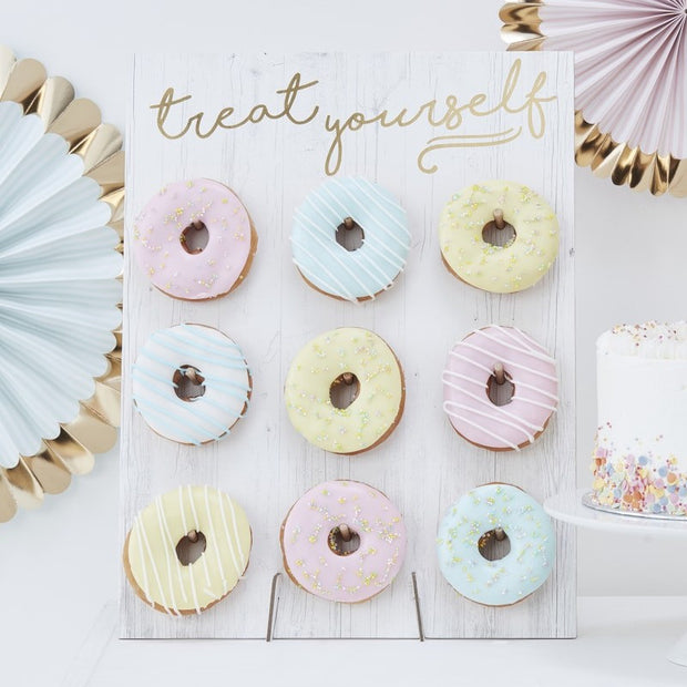 Treat Yourself pastel donut wall -Doughnut wall-Donut stands-Birthday cake stand alternative-Hip hip hooray-Sweet table -Party dessert stand