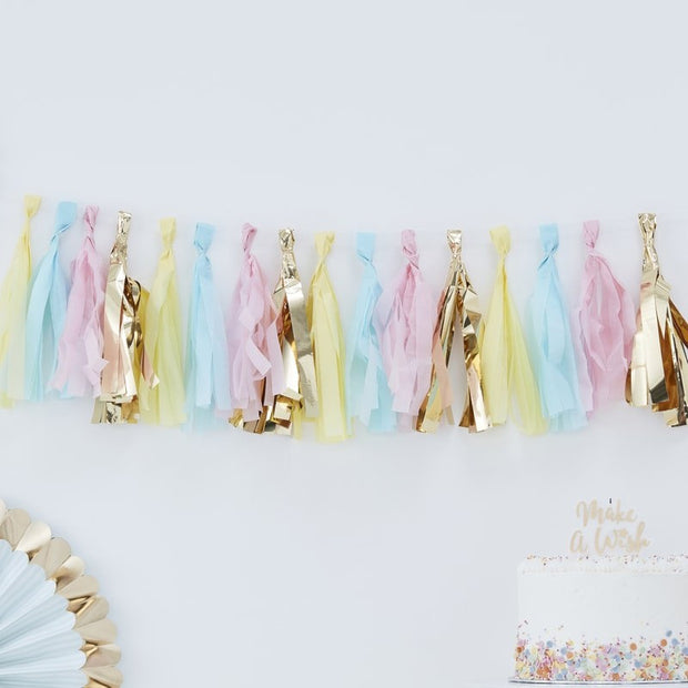 Gold and pastel tassel garland - Pastel and gold decorations - Paper tassels - Baby shower - Party decorations-Birthday party-Hip hip hooray