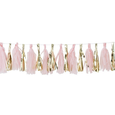 Pink and gold tassel garland kit - Oh Baby! pink and gold tassel garland - Baby shower decorations - Gold and pink baby shower backdrop