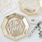 Gold and white baby shower - Oh Baby gold and white paper plates - Gold foiled plates - Baby shower decor - Baby shower tableware -Pack of 8