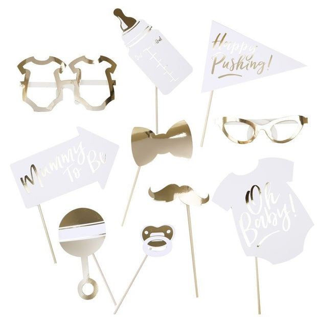 Baby shower photo booth props - Oh Baby gold and white photo booth props - Baby shower games - Gold and white baby shower props - Pack of 10