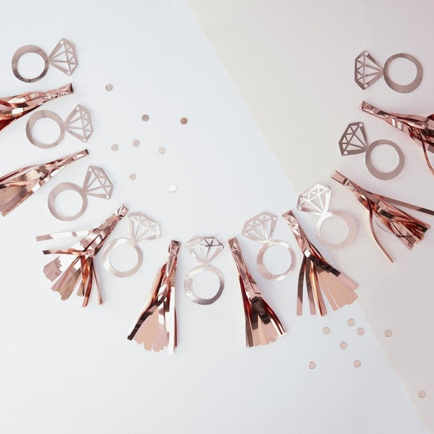Rose gold ring tassel garland -Rose gold tassel hen party bunting-Team Bride garland-Hen party garland-Hen party decor-Bridal shower bunting