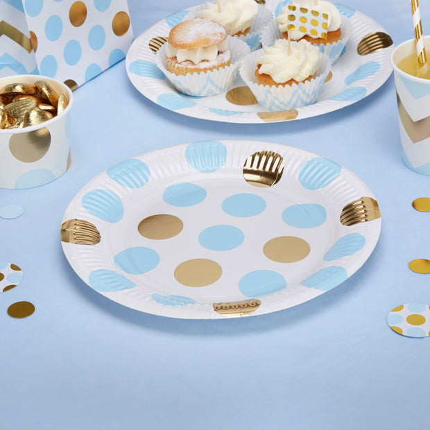 Blue and gold circles plates - Large dots paper plates - Baby shower plates - Birthday paper plates-Party decorations-Party tableware-8 pack