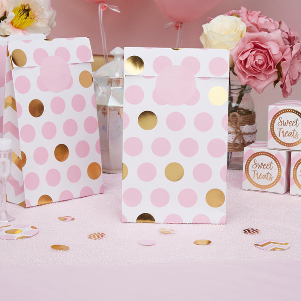 Pink and gold party bags - Baby shower favour bags - Birthday party favours - Treat bags - Pink and gold dots - Party decorations -Pack of 5