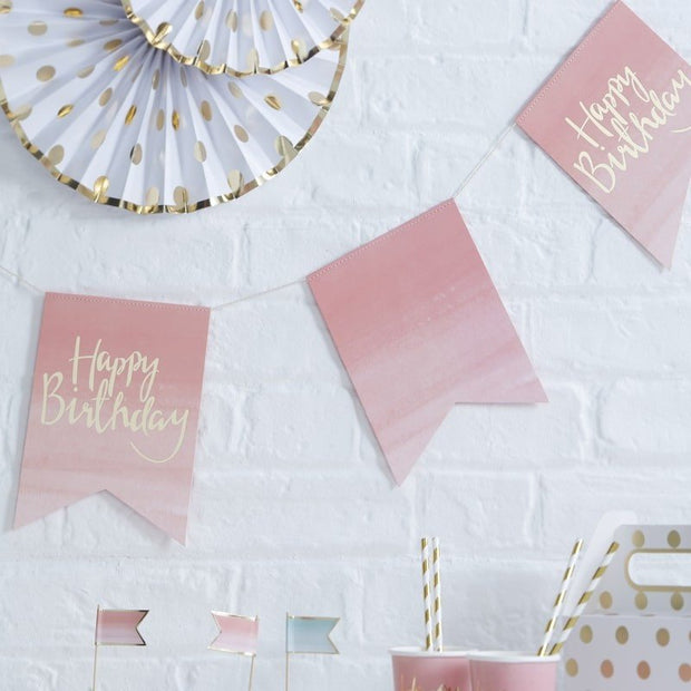 Pink Happy Birthday bunting - Gold foiled Happy Birthday banner - Birthday party decorations - Pink ombre party decor - Girls party decor