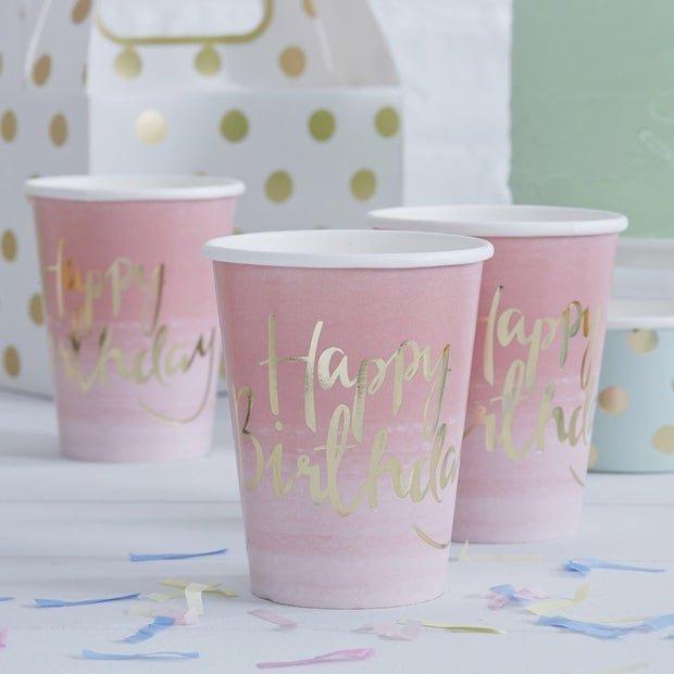 Pink Happy Birthday cups - Gold foiled Happy Birthday paper cups - Birthday party tableware - Pink ombre party decor - Girls party-Pack of 8