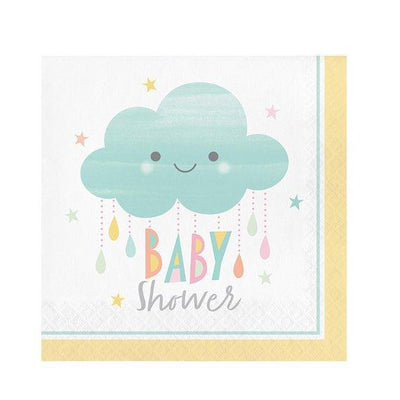 Cloud napkins - Baby shower paper napkins - Gender neutral - Gender reveal party - Party decorations - Party tableware - 16 napkins