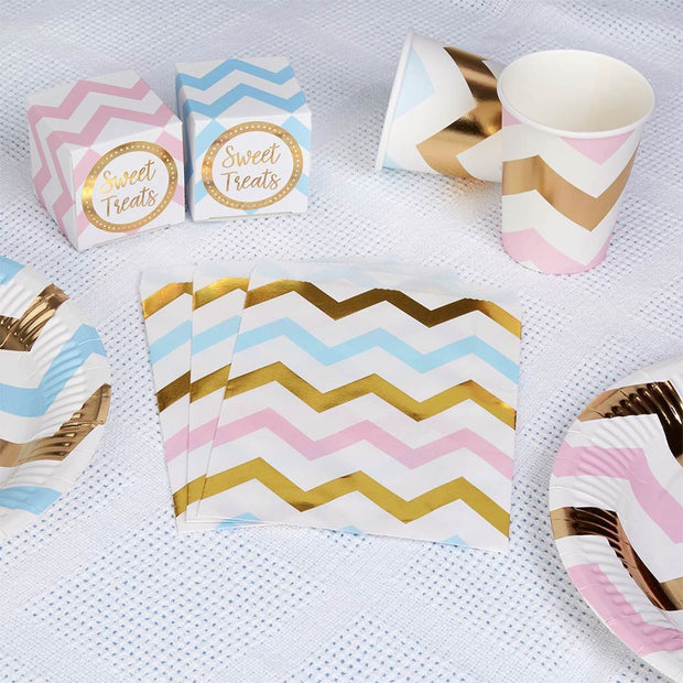 Pink blue and gold sweetie bags - Gold foil treat bags - Gender reveal party accessories -Favor bags-Goodie bags-Baby shower bags-Pack of 25