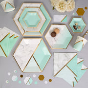 Mint and gold plates - Marble effect large paper plates - Hen party plates - Birthday paper plates -Party decorations-Party tableware-8 pack