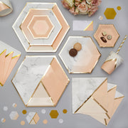 Peach and gold plates - Canapé paper plates - Hen party plates-Birthday paper plates-Hexagon plates-Party decorations-Party tableware-8 pack