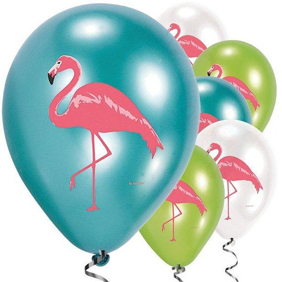 Flamingo balloons - Birthday party balloons - Tropical party balloons - Pink flamingo balloons - Party decorations -Birthday decor-Pack of 6