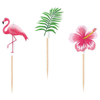 Tropical cupcake toppers - Pink flamingo picks - Tropical party decor - Green tropical leaves - Party decorations - Cake decorations-20 pack