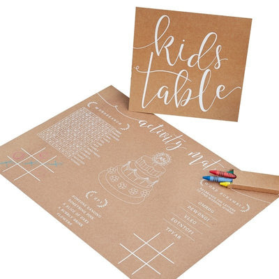 Kids table pack-Rustic wedding kids activity pack-Wedding kids table-Rustic country kraft kids pack-Kids table placemats-Country theme