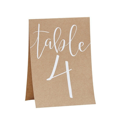 Rustic kraft table number cards - Rustic country wedding table number cards - Kraft and white table numbers - Wedding tableware - Pack of 12