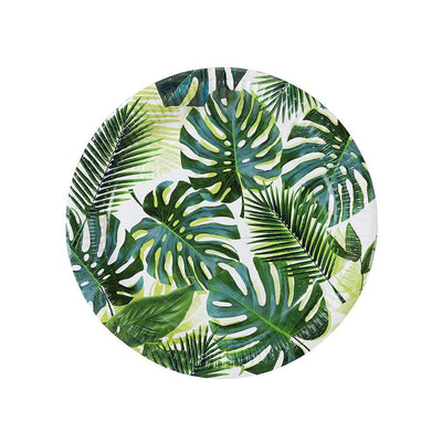 Tropical leaf paper plates - Palm leaf party plates - Tropical party plates - Birthday paper plates-Party decorations-Party tableware-8 pack