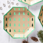 Green foiled Christmas tree plates - Green and kraft Christmas tree paper plates - Christmas party tableware-Christmas decorations-Pack of 8
