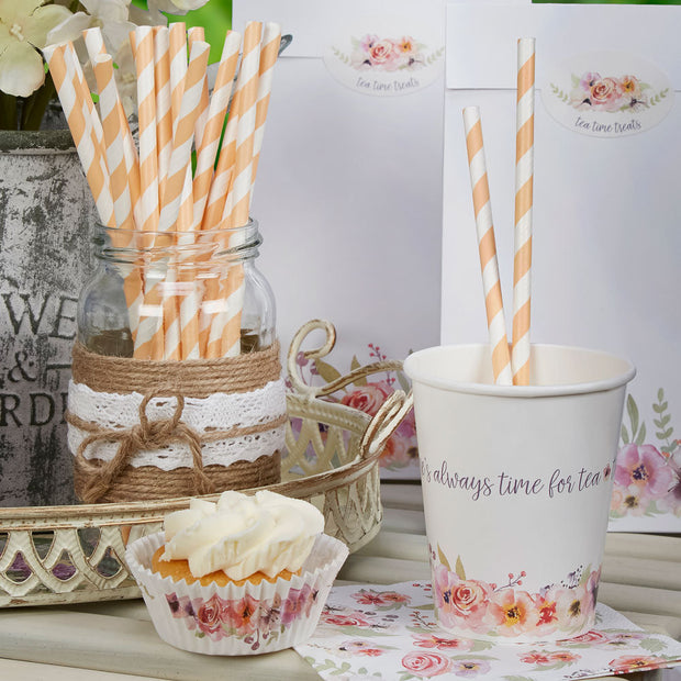 Peach paper straws-Peach and white striped paper straws-Birthday party straws-Hen party straws-Baby shower straws-Cake pop straws-25 pack