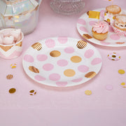 Pink and gold circles plates - Large dots paper plates - Baby shower plates - Birthday paper plates-Party decorations-Party tableware-8 pack
