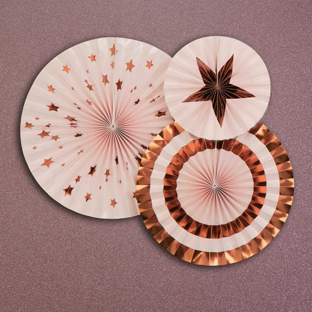 Rose gold paper fans - Rose gold and pink paper fans - Rose gold pin wheels-Paper fan decorations-Birthday party decorations-Hen party decor