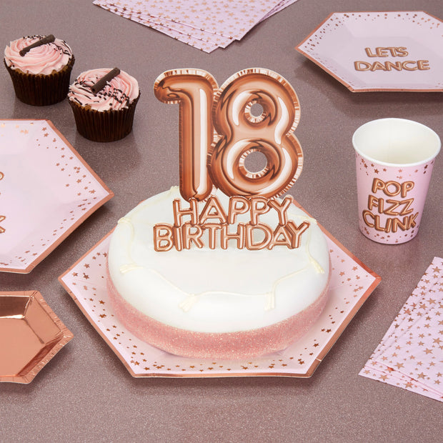 Rose gold 18 Happy Birthday cake topper - Rose gold cake decoration - 18th birthday decoration - Party decoration - Age cake topper