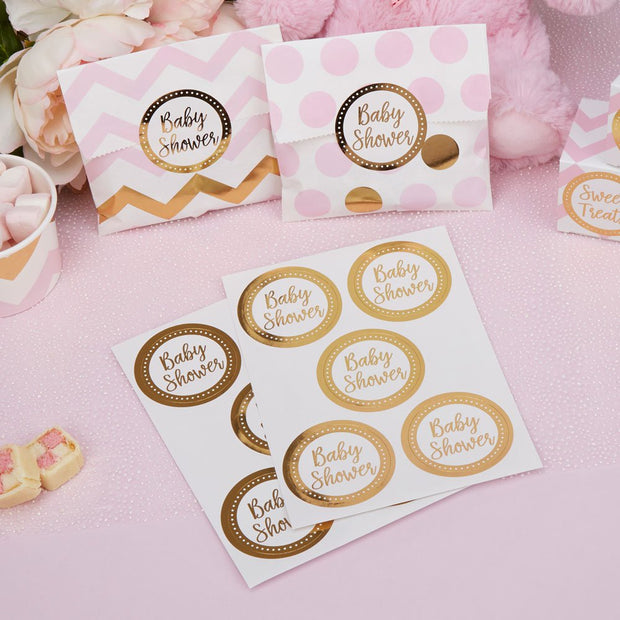 Baby shower stickers -Gold and white baby shower stickers-Gold foil stickers-Baby shower favour favor stickers-Party bag stickers-Pack of 25