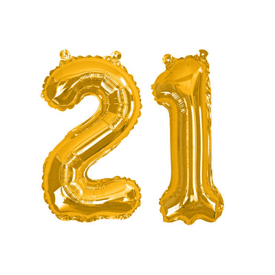 "Gold number 21 balloon - 16"" gold foil 21 balloon - 21st birthday balloon - Birthday balloon - Party decorations - Air fill balloons"
