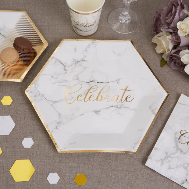 Marble and gold plates - Marble effect large paper plates - Wedding plates -Birthday paper plates-Party decorations-Party tableware-8 pack