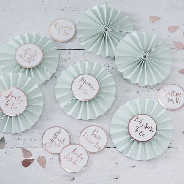 Baby shower badges - Mint, white and rose gold baby shower badges - Mum to be badges - Baby shower decor - Hello World badges - Pack of 6