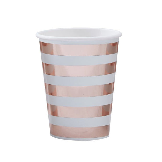 Rose gold and mint paper cups - Baby shower rose gold stripe cups - Party decorations - New baby tableware - Hello World cups - Pack of 8