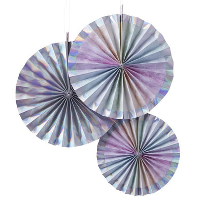 Iridescent hanging paper fan decorations - Unicorn party decorations - Mermaid party decorations - Rainbow party decorations - Pack of 3