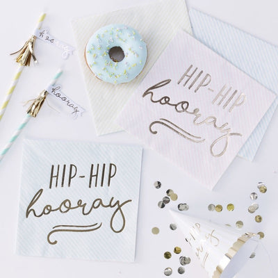 Pastel paper napkins - Gold foiled Hip Hip Hooray paper napkins - Party decorations - Party tableware-Birthday party-Pastel decor-Pack of 16